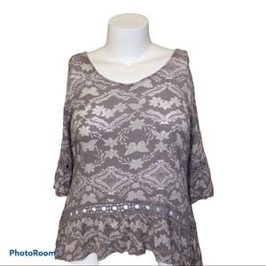 Maurices Boho Cutout Back Bell Sleeve Top
